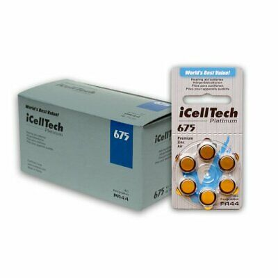 60 iCellTech Hearing Aid Batteries Size: 675 + Battery Caddy