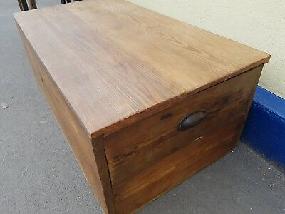 Large Antique Pine Chest / ottoman / blanket Box /coffe table