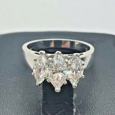 Sterling Silver 925 Oxidized Faceted Marquise CZ Three Stone Cocktail Ring 7