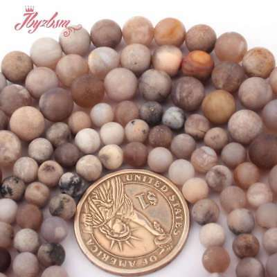 "Round Frost Raw Fossils Ocean Agate Natural Stone Bead for Jewelry Making 15""DIY"