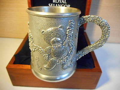 Royal Selangor Pewter Teddy Bears Picnic Christening Mug In Wooden Box