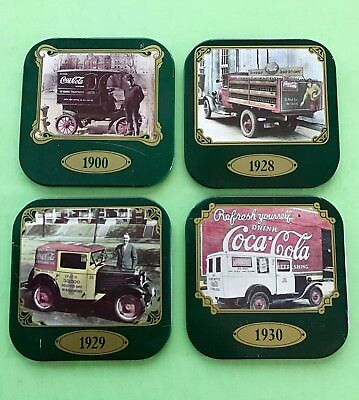 Set of 4 Square Vintage Coca Cola Metal Coasters - featuring  Delivery Trucks