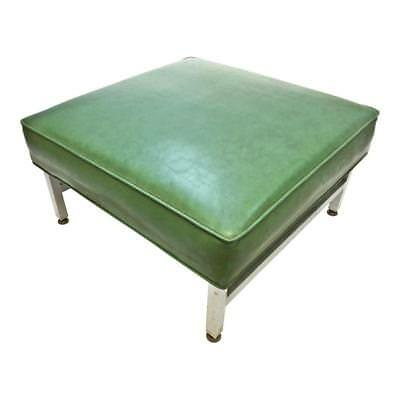 Mid Century Modern FOOT STOOL green vinyl metal bench ottoman THONET steel 60s