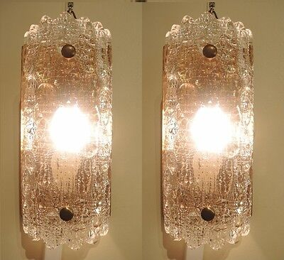 Vintage Pair Orrefors Wall lights sconces Carl Fagerlund Geffion Crystal
