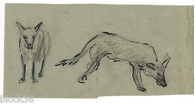 WOLVES folded page with drawings from the album of Russian artist A.M.Gromov