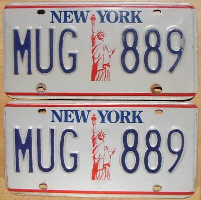 NEW YORK Statue of Liberty 1986-2000 License Plate PAIR - #MUG-889
