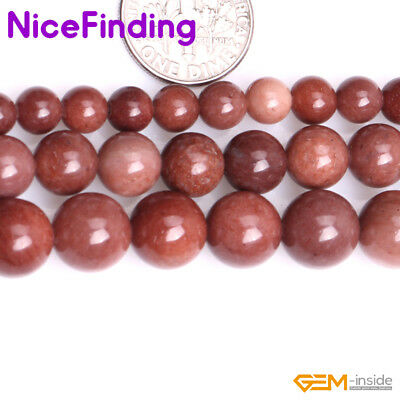 "Natural Dark Red African Blood Jasper Loose Stone Beads For Jewelry Making 15""NF"