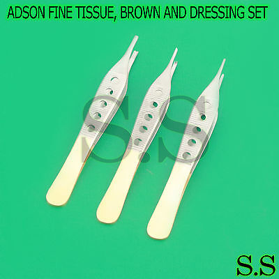 "3 Pcs Gold Handle Adson Tissue+Brown+Dressing Forceps 4.75"" Finestrated"