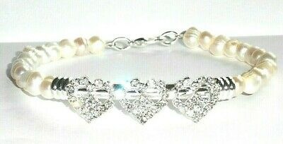 BRIDE Genuine Natural Freshwater PEARL & CRYSTAL Bangle/Bracelet
