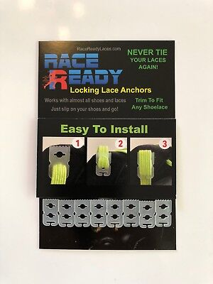 12 Race Ready...Locking Lace Anchors...Never Tie Your Shoes Again!..Easy Install