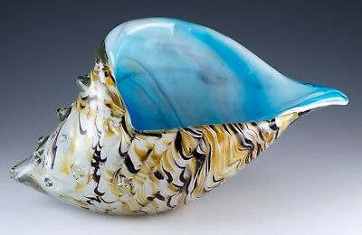 "New Large Hand Blown Glass Amber White & Blue Seashell Figurine 8.75"" Long"