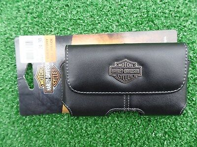 Harley-Davidson  Leather Cell Phone Case Silver & Black Bar & Shield Logo (New)