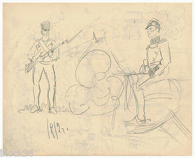 ca 1916 Page from the album of UNKNOWN RUSSIAN ARTIST: Military men + ...