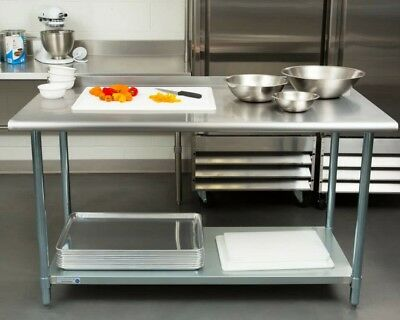 "NEW Commercial 30"" x 60"" Stainless Steel Work Prep Table With Backsplash Kitchen"