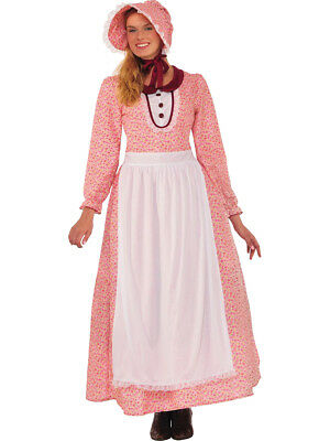 Adult's Womens Modest Prairie Pioneer Woman Dress And Bonnet Costume