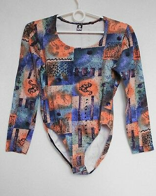 Vintage 80s Abstract & Cartoon Print Long Sleeve Bodysuit Romper Leotard S