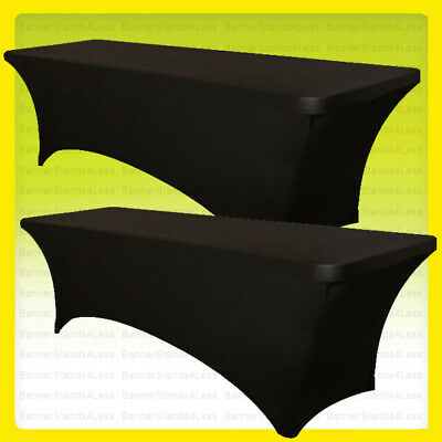 6' ft SPANDEX Fitted Tablecloth Stretch Table Cover Wedding Party BLACK - 2 PACK