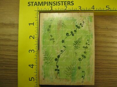 Rubber Stamp Fern and Script Background Hero Arts Collage Stampinsisters #748
