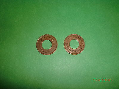 """- British  India - """" One Pice """" Coin  With  Hole - Rare - 1945 -  Bronze"""