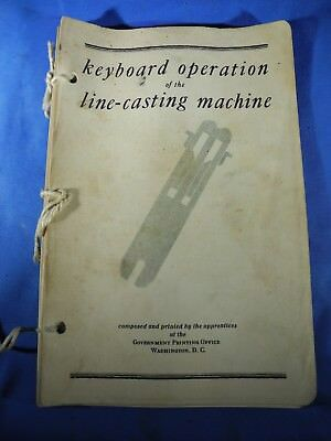 (RARE) Keyboard operation Line-casting Machine Government Printing Office