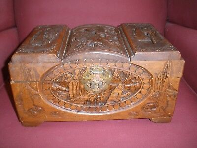 Vintage Antique Chinese Wood Hand Carved Chest Box Sailboat Theme