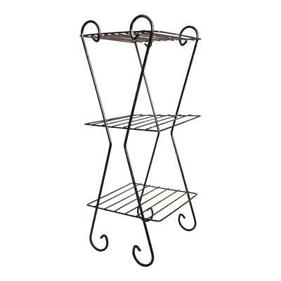 Mid Century Modern METAL PLANT STAND black wire vintage side end table rack 50s