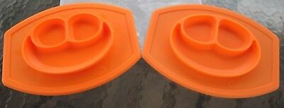 2 Mini Happy Mat Smiley Face Silicone Placemat Divided Plate Kids Baby Orange