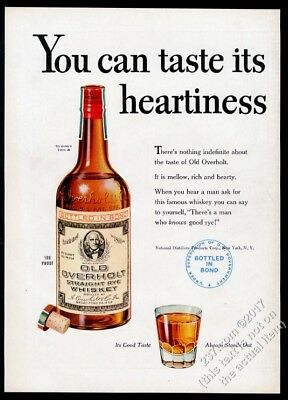1945 Old Overholt Rye Whiskey You Can Taste Its Heartiness vintage print ad