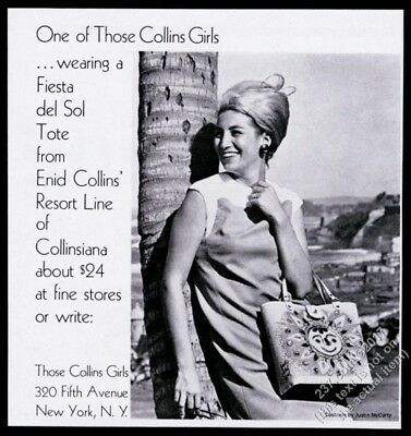 1967 Enid Collins tote bag purse jeweled sun photo vintage print ad