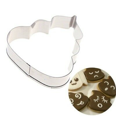 Set / 2 Poop Emoji Packed Stainless Steel Cookie Cutter Pastry Dessert Mould