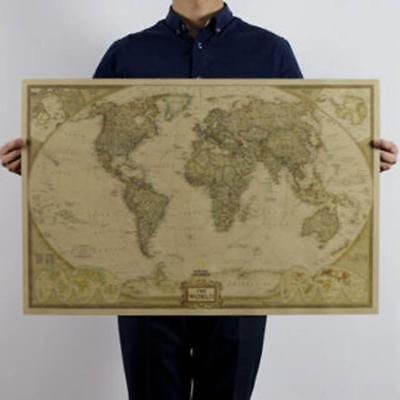 Retro World Map Antique Paper Poster Wall Chart Room Educational Decor 72x48cm