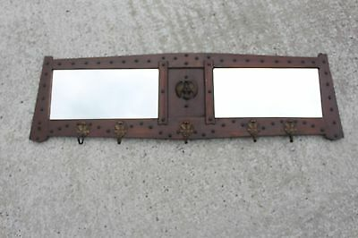 Large Vintage Brass Wood Frame Double Mirror Eagle 5 Hooks Coat Rack