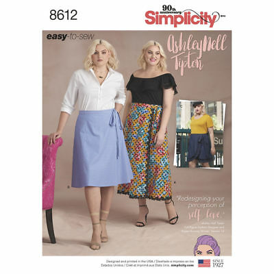 SIMPLICITY EASY SEWING PATTERN 8612 Womens Plus Size Wrap Skirt & Mini Skirt