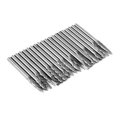 "20pcs 3mm 1/8"" Head Tungsten Carbide Rotary Burrs Die Grinder Carving Set BI228"