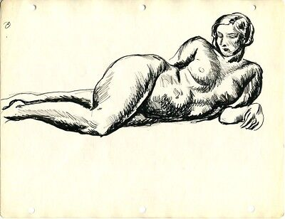 c1930 Original Pen & Ink Drawing by Earle B Winslow Nude Female Figure Study [O]