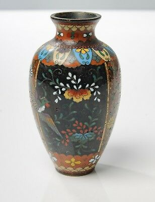 Vintage Japanese Enamel Cloisonne Vase with Copper Aventurine Panels & Birds