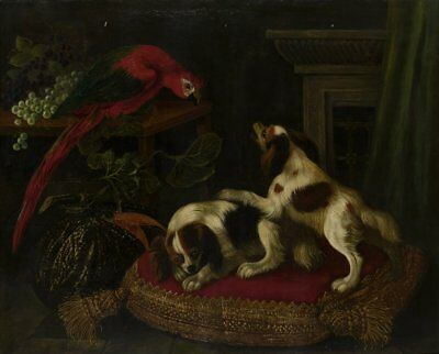 "oil painting ""Still life with macaws and two King Charles spaniels ""@N6488"