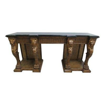 Henredon French Regency Marble Top Sideboard Credenza Lion Heads