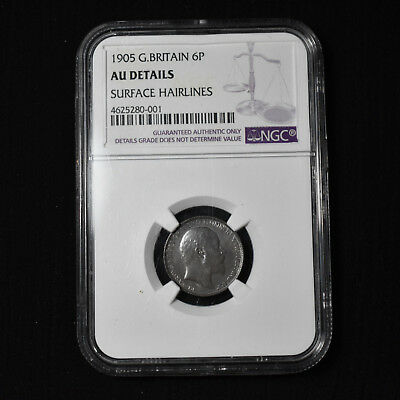1905 Great Britain, Edward Vii Sixpence, Km799, Ngc About Uncirculated Details