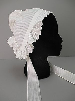 Antique Victorian White Childs Sun bonnet Civil War Era Hand sewn