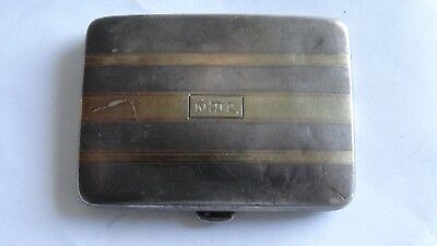 Art Deco Sterling Silver 14K Gold Card Case By James E. Blake Co