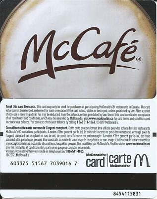 NEW MCDONALD'S McCAFE 2017 MINT GIFT CARD FROM CANADA BILINGUAL NO VALUE
