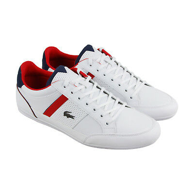 Lacoste Chaymon 218 1 Cam Mens White Leather Lace Up Trainers Shoes
