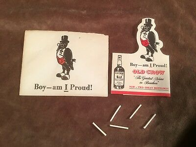 Vintage Old Crow Bourbon Advertising Smoking Cardboard Bird WITH 5 Cigarettes #C