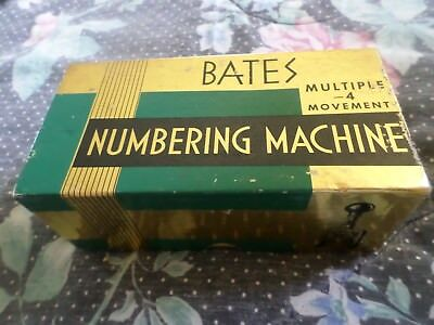 VINTAGE Bates Multiple 4 Movement Numbering Machine 6 Wheels E w/ Box VERY NICE