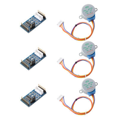 3Sets 28BYJ-48 DC5V Stepper Motor with 4-Phase 5-Wire ULN2003 Driver Board TE759