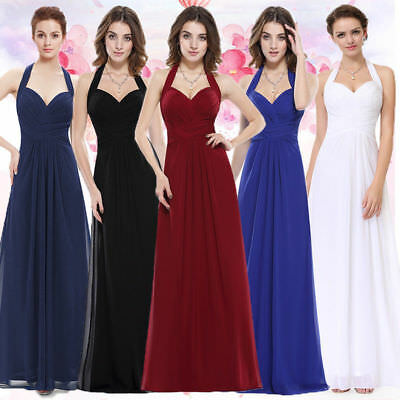 Ever-Pretty Chiffon Evening Gown Halter V-neck Long Bridesmaid Dresses 08487