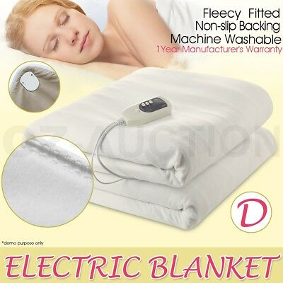 Electric Blanket Heated Machine-Washable Soft Fleece For All Sizes Beds - Double
