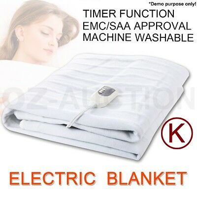 Polyester King Size Fitted Heated Electric Blanket Detachable Dual Control
