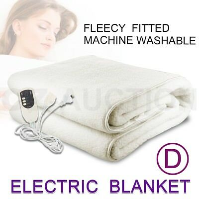 Electric Blanket Fleece Fully Fitted Heated Bed Double Size Underlay Timer